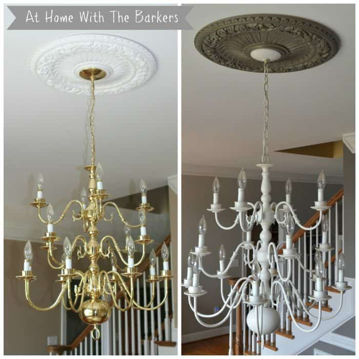 Before and After Chandelier Makeover