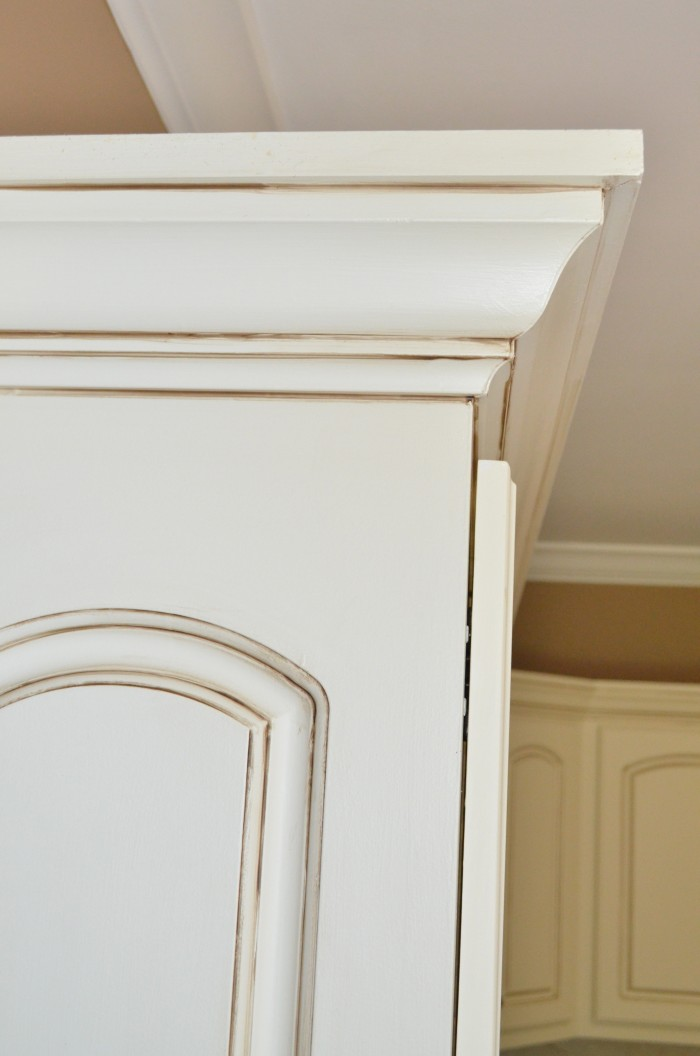 Painted kitchen cabinets at home with the barkers - How to glaze kitchen cabinets that are painted ...