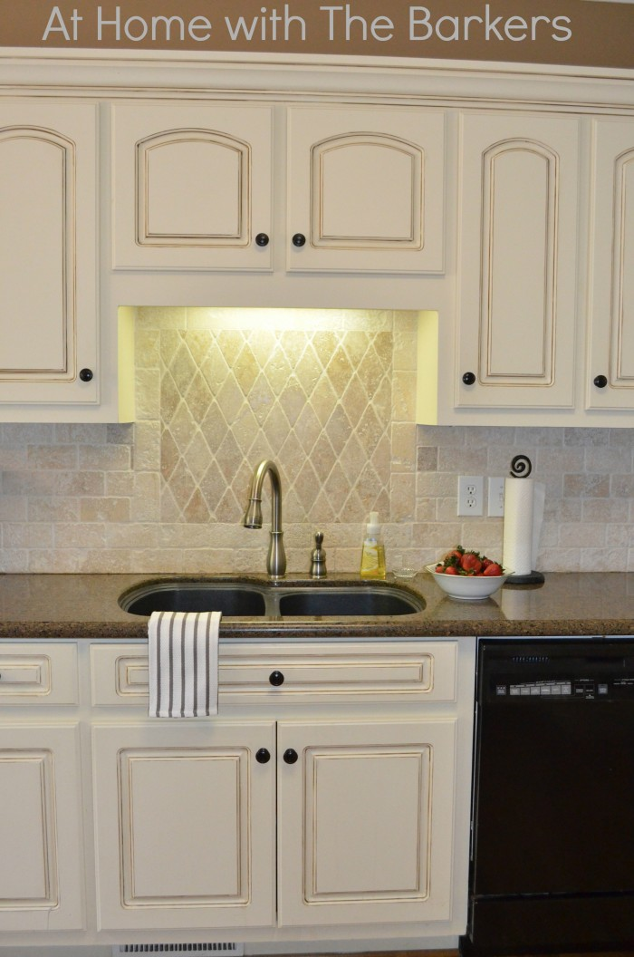 Painted kitchen cabinets at home with the barkers for Black and white painted kitchen cabinets