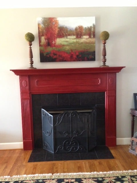Family Room Mantel Red