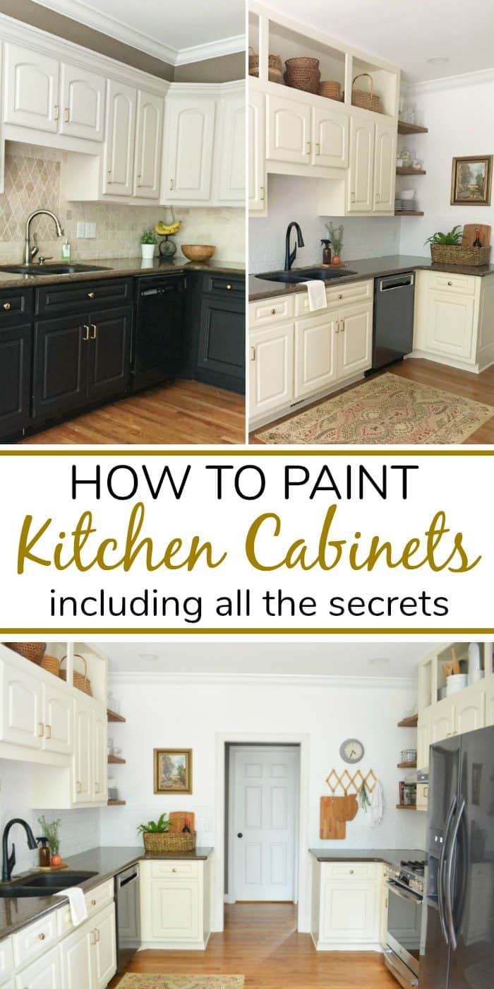 How to Paint kitchen cabinets Pinterest graphic