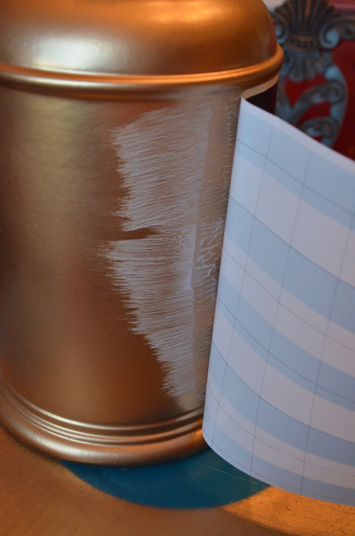 Thrift Store Lamp Makeover using gift wrap and spray paint and mod podge