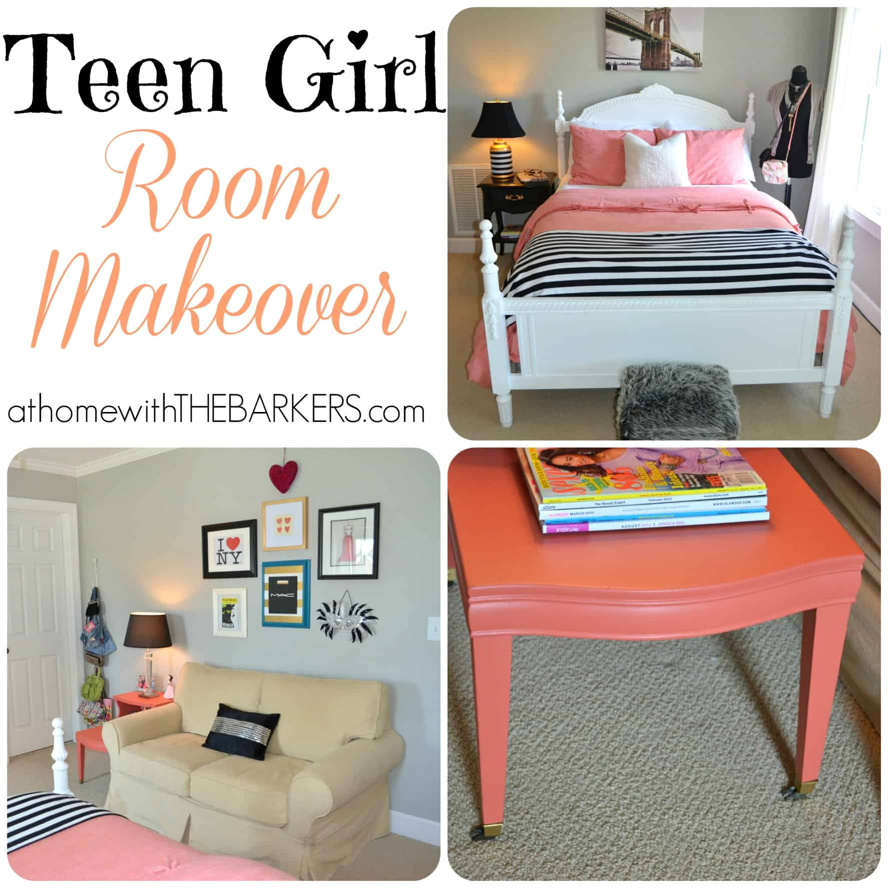 Teen GIrl Room Makeover Collage
