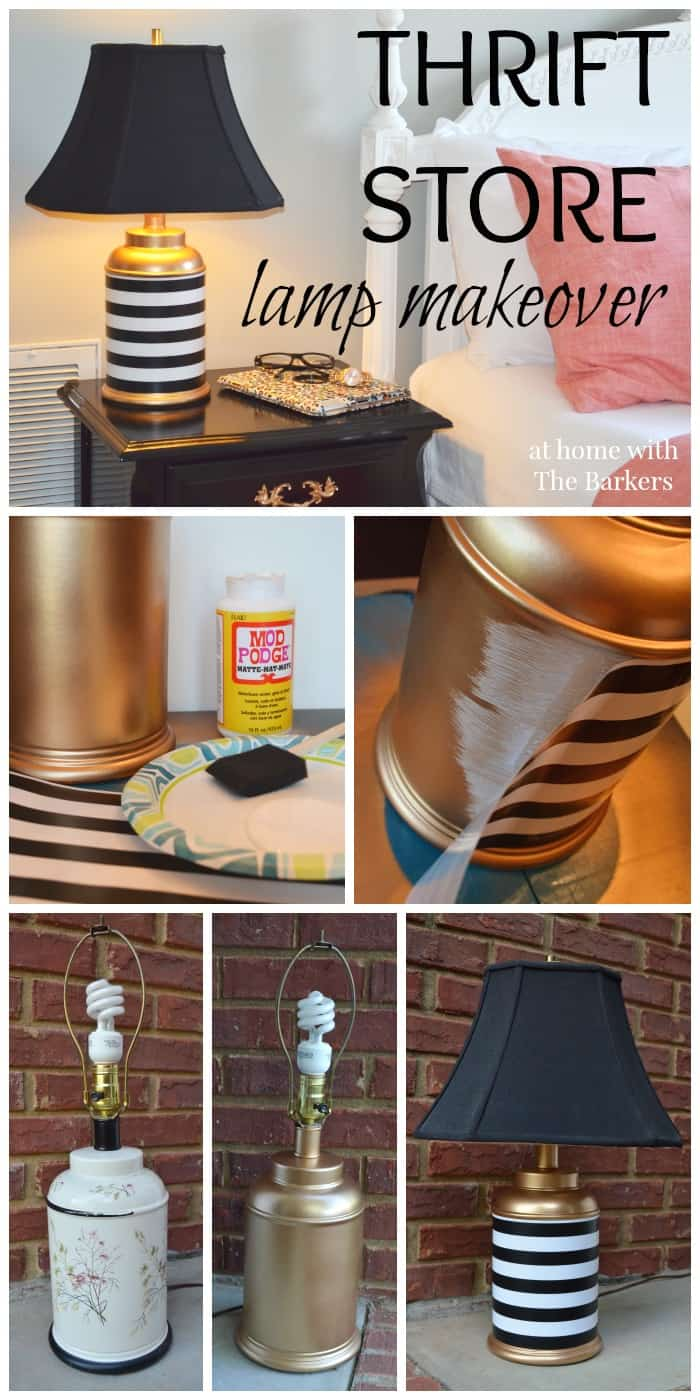 Thrift Store Lamp Makeover-Gold Spray Paint-Mod Podge