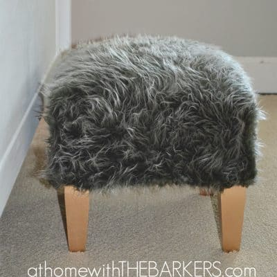 How to Reupholster a Foot Stool {with hot glue}