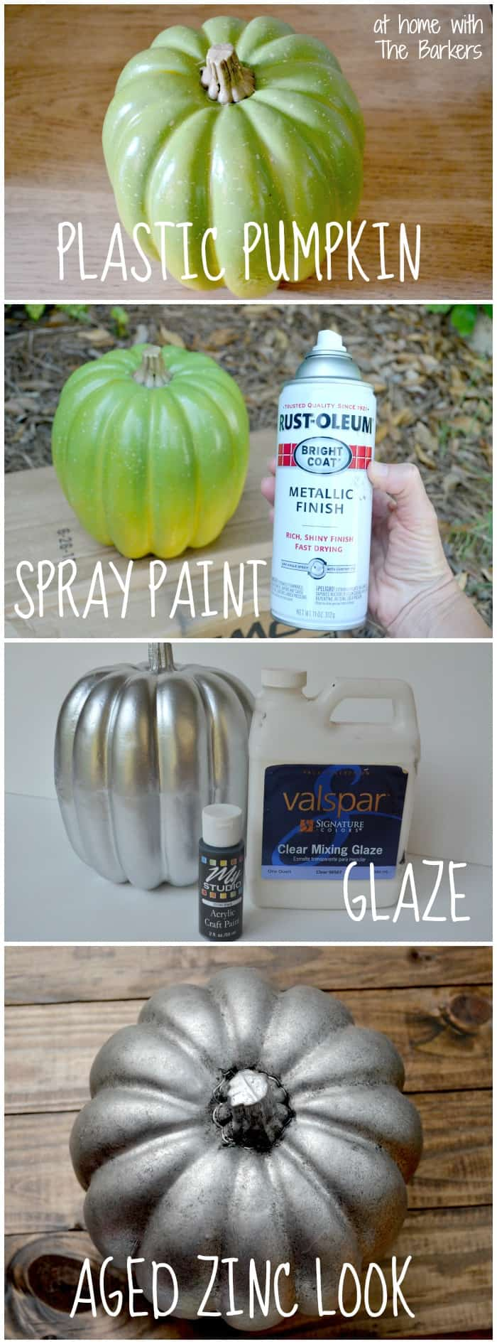 How to get an Aged Zinc Look on a Plastic Pumpkin. Perfect Fall Decor / athomewiththebarkers.com