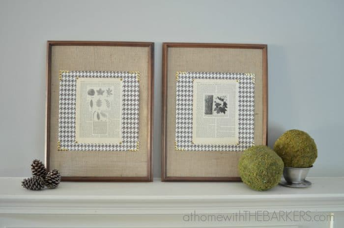 Framed Burlap and Book Pages Project