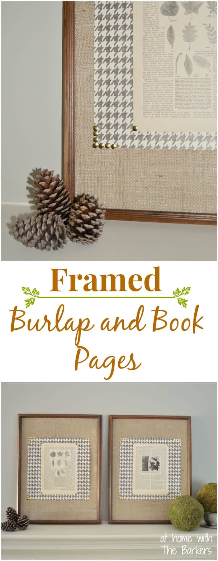 Framed Burlap and Book Pages- Fall Art