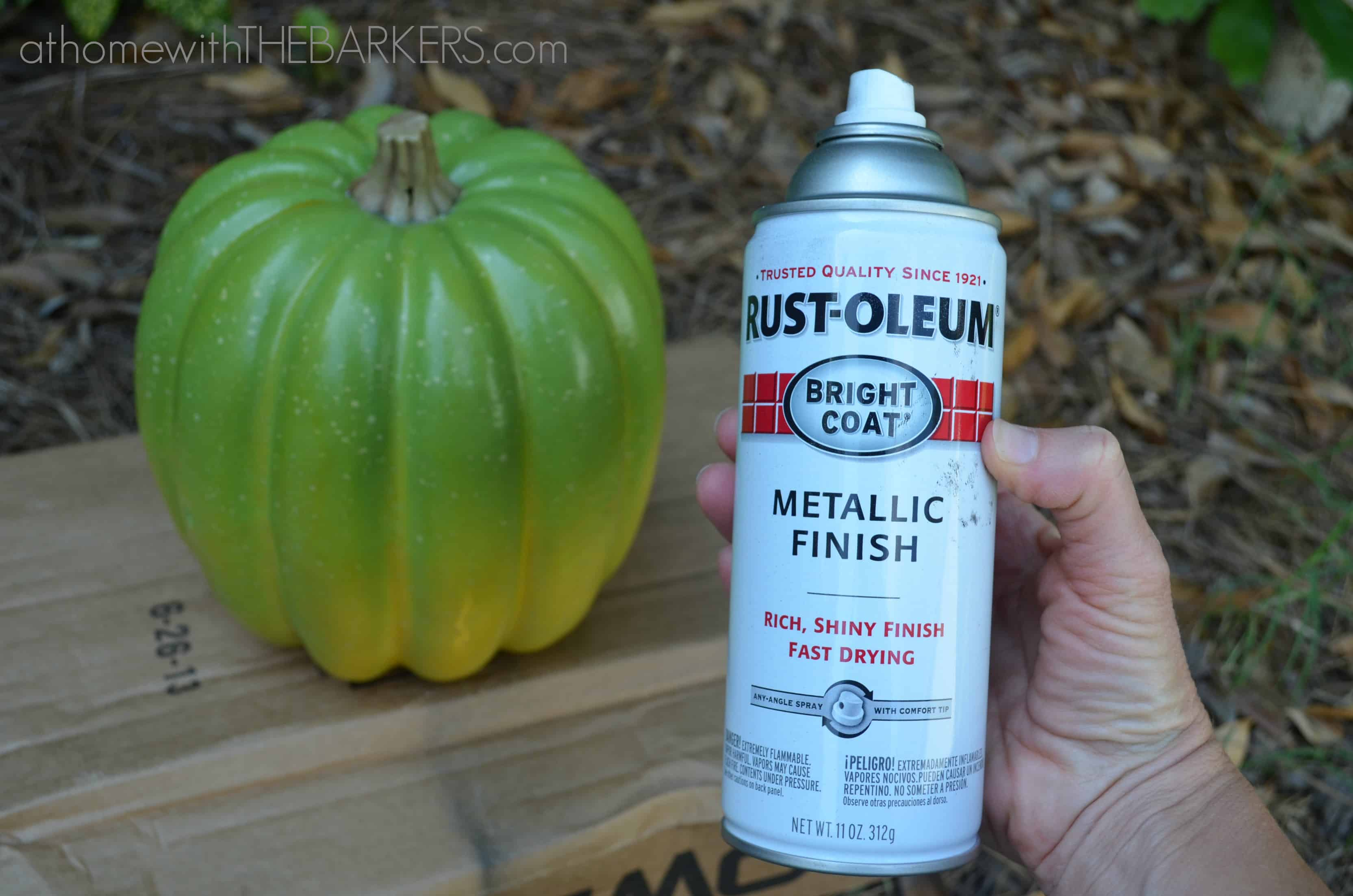 plastic pumpkin rustoleum spray paint at home with the barkers. Black Bedroom Furniture Sets. Home Design Ideas