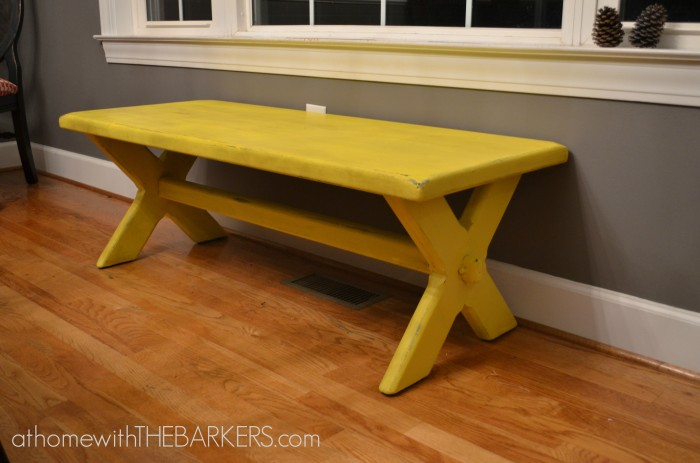 31 Days Bench Makeover Painted Yellow Distressed