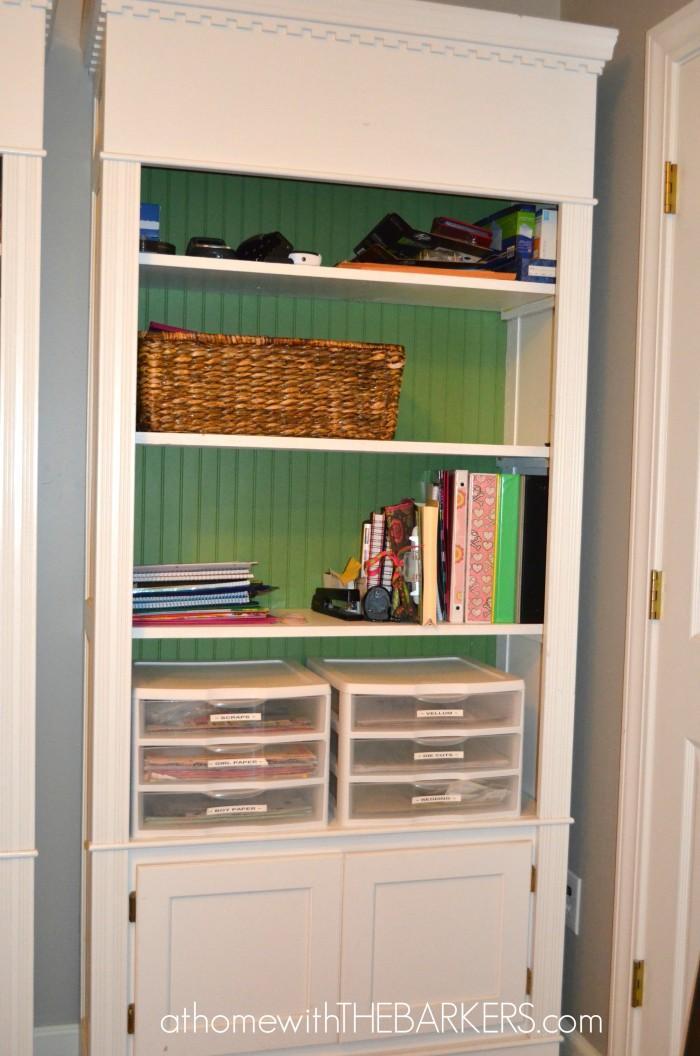 Craft Room Bookshelf with paper
