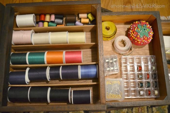 Singer Sewing Supplies Organized
