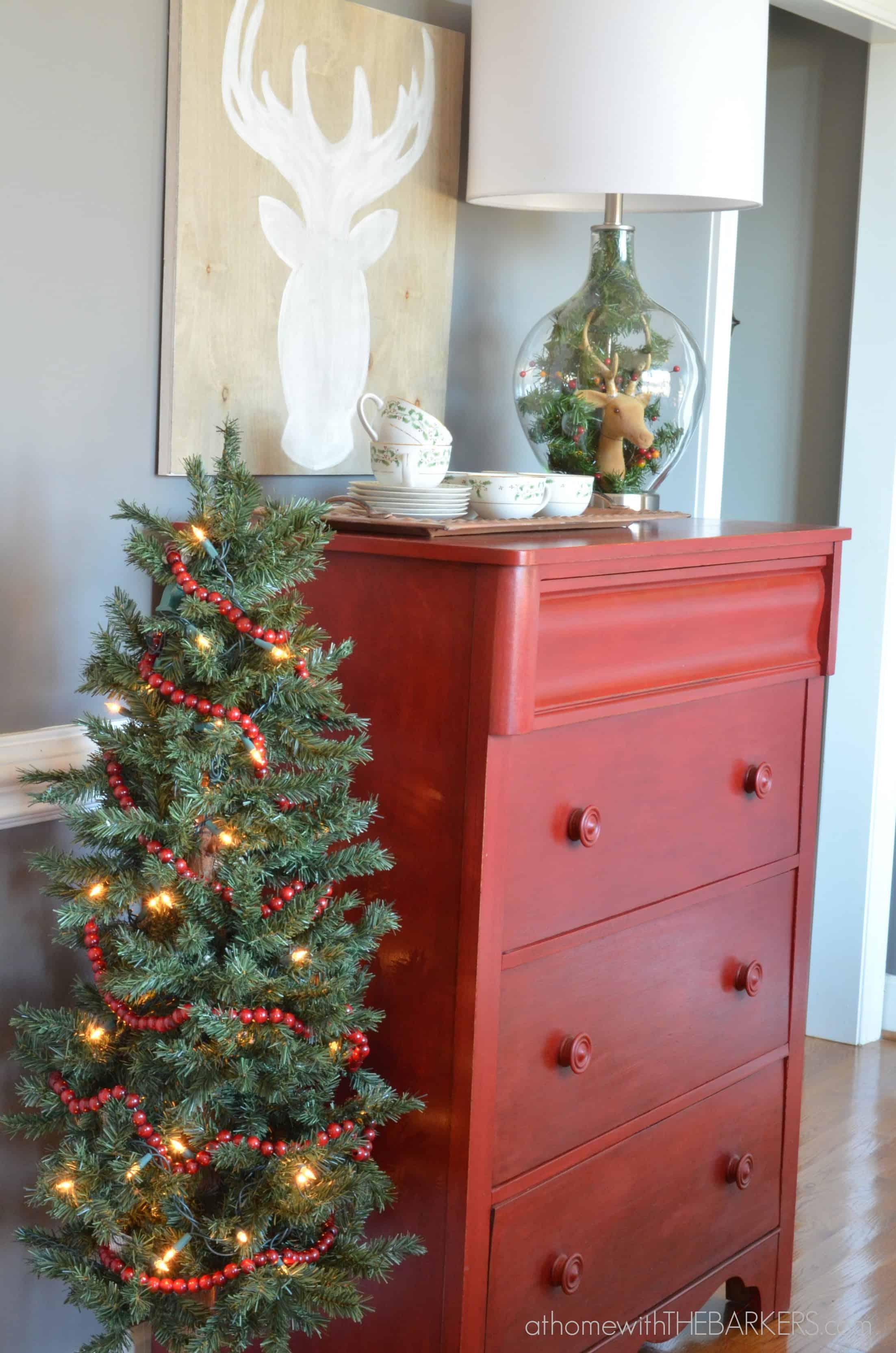 Christmas Tour Dining Room Red Dresser