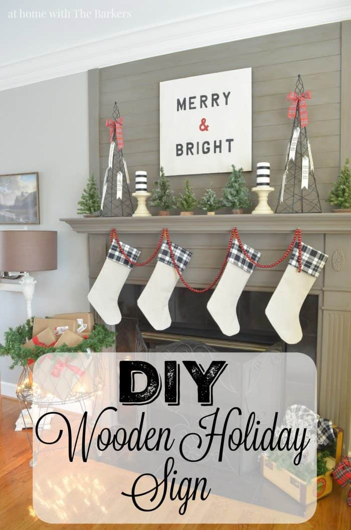 DIY Wooden Holiday Sign Tutorial - At Home with The Barkers