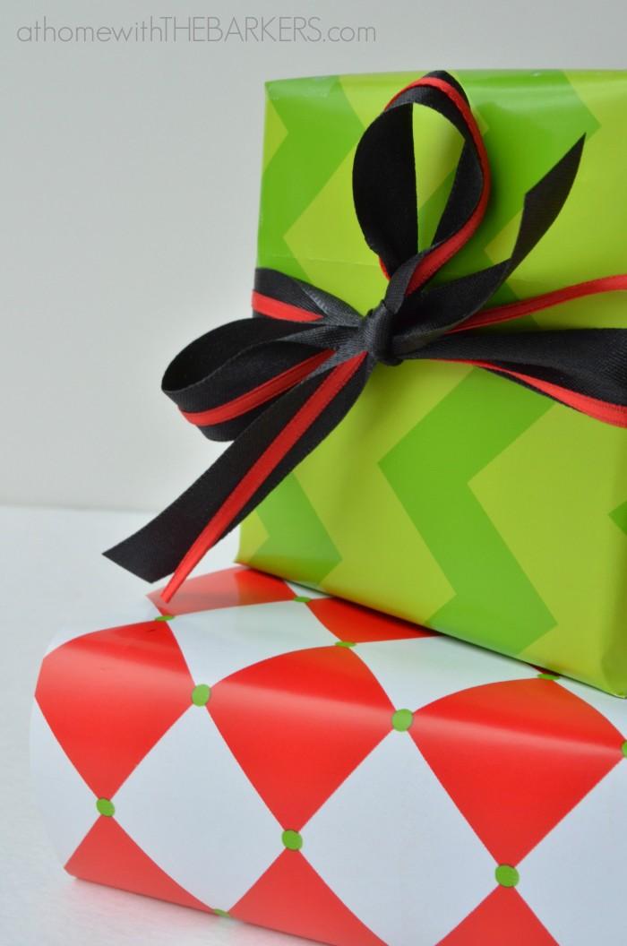 Gift Wrap Chevron and Red Diamond