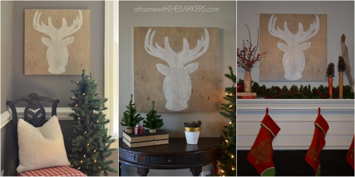 Wooden Sign Deer with 3 Hanging Options