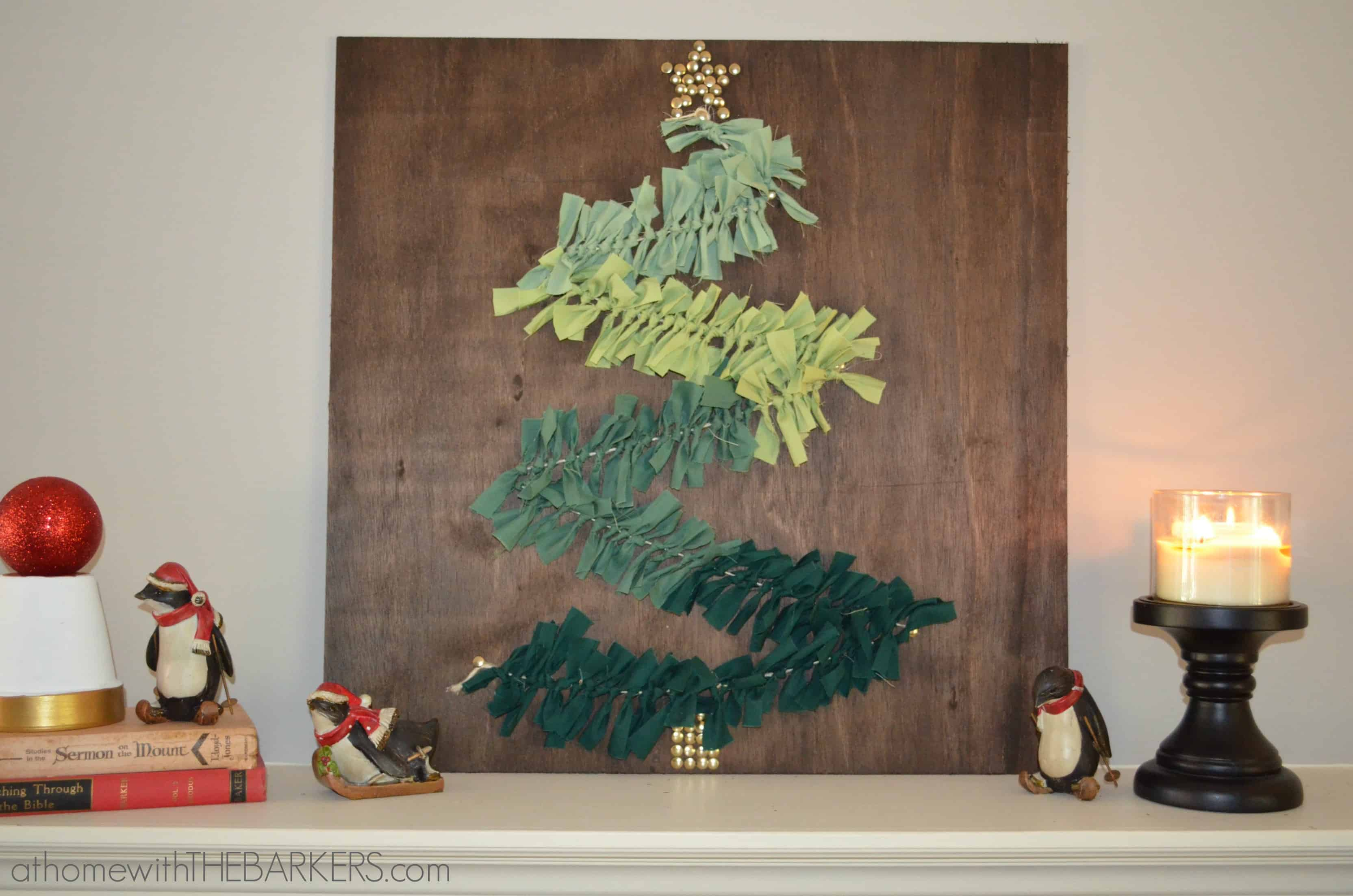 DIY Christmas Tree Wall Art on Mantel - At Home with The Barkers