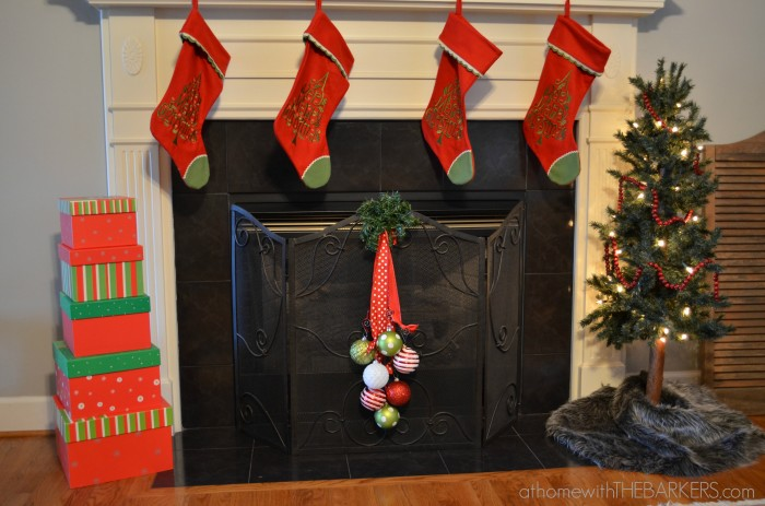 Plastic Ornaments on fireplace screen