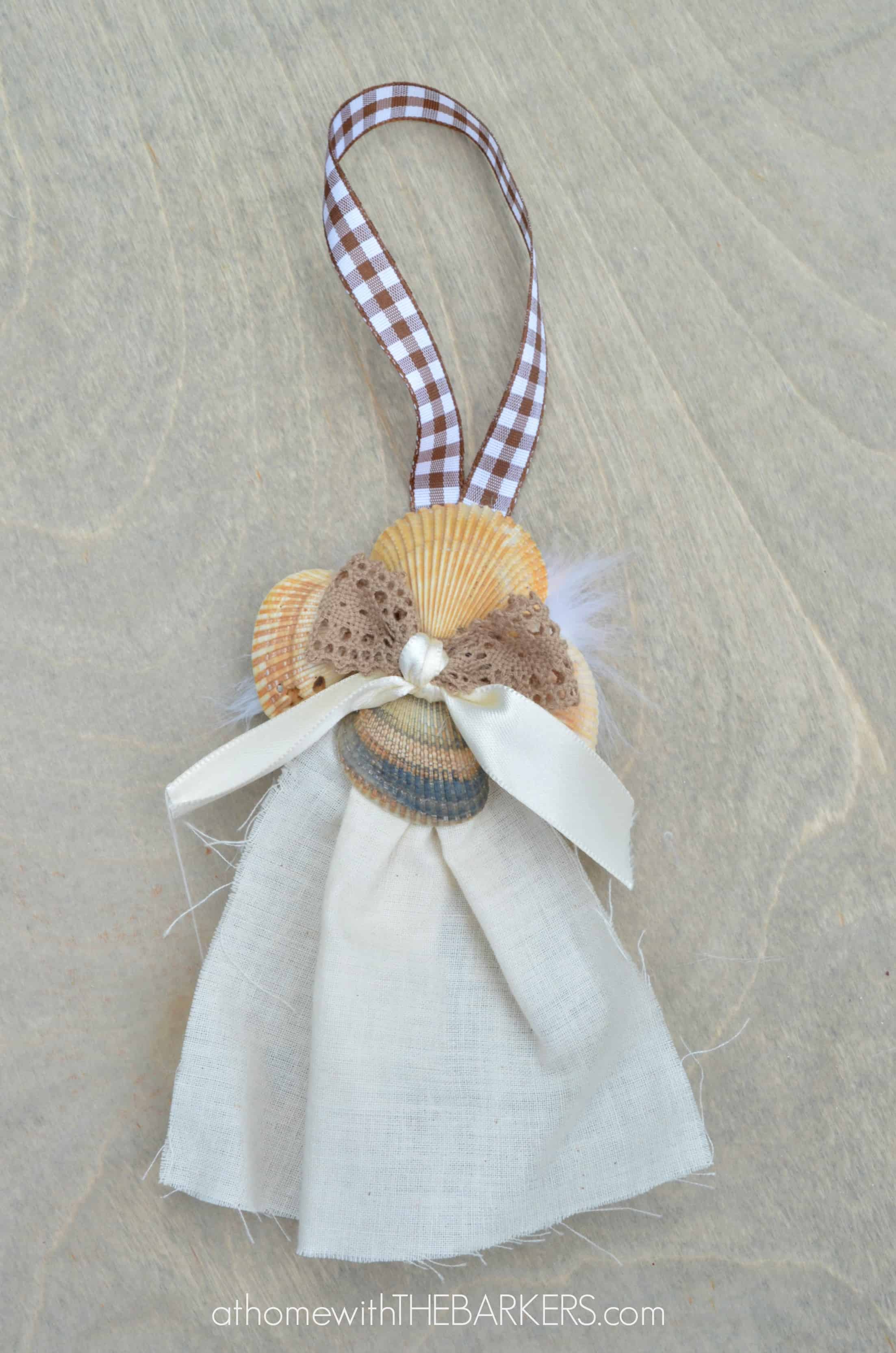 Sea shell angel ornament front view at home with the barkers - Seashell ornaments to make ...
