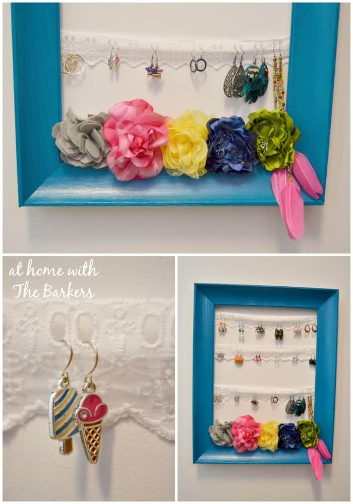 Spray Painted DIY Jewelry Organizer- Eyelet Lace