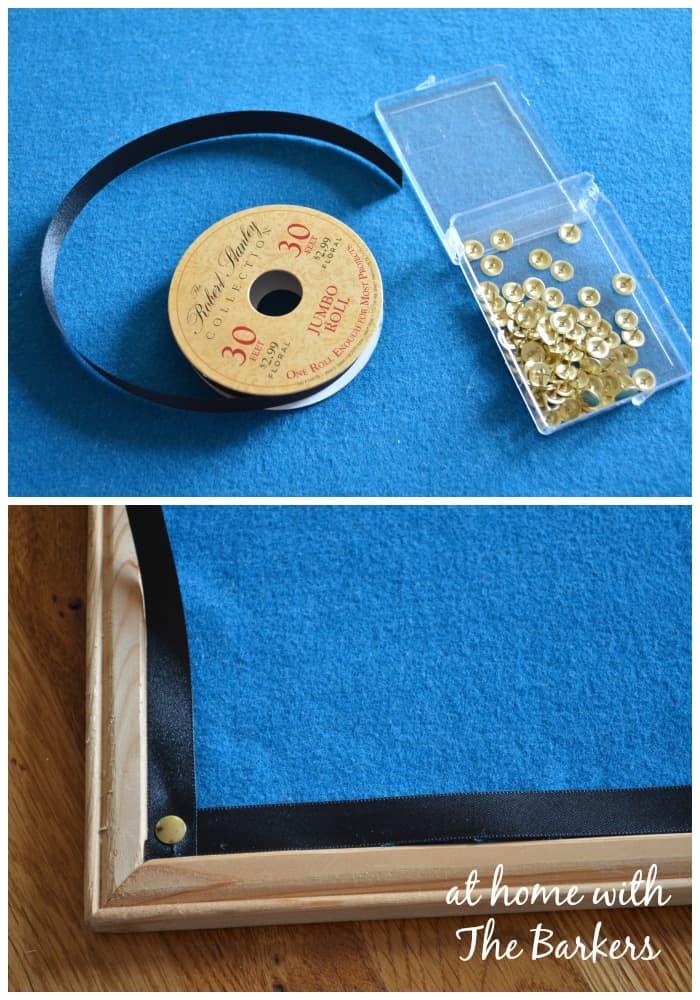 DIY Jewelry Organizer-ribbon and tacks