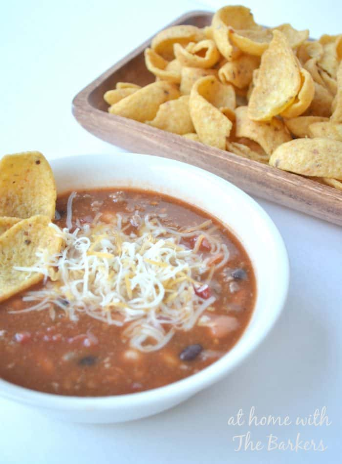 Taco Soup and Chips