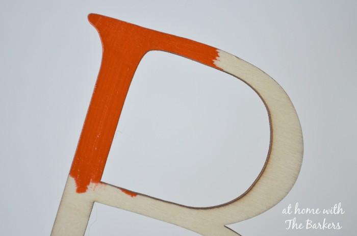 Burlap Letter B-arcylic paint