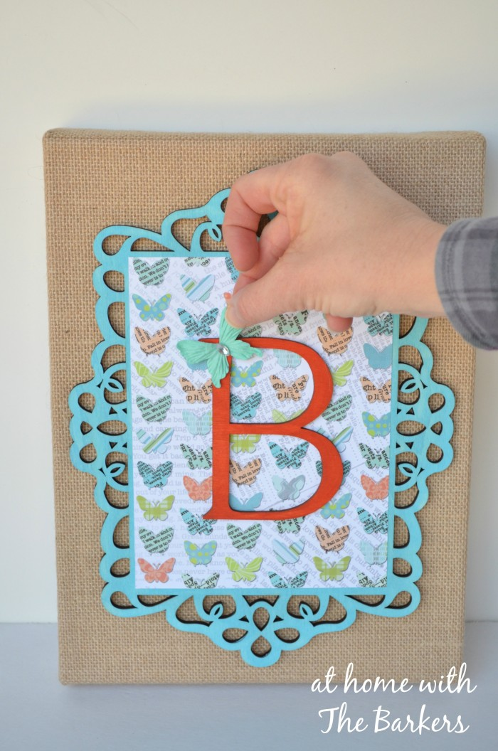 Burlap canvas art with butterfly