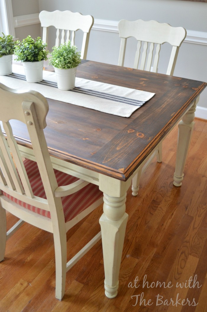 Farmhouse table makeover at home with the barkers for Farmhouse table plans with x legs