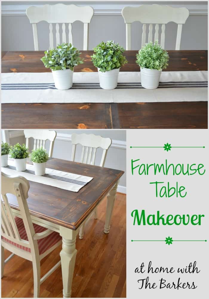 Farmhouse Table Makeover Dark Stain