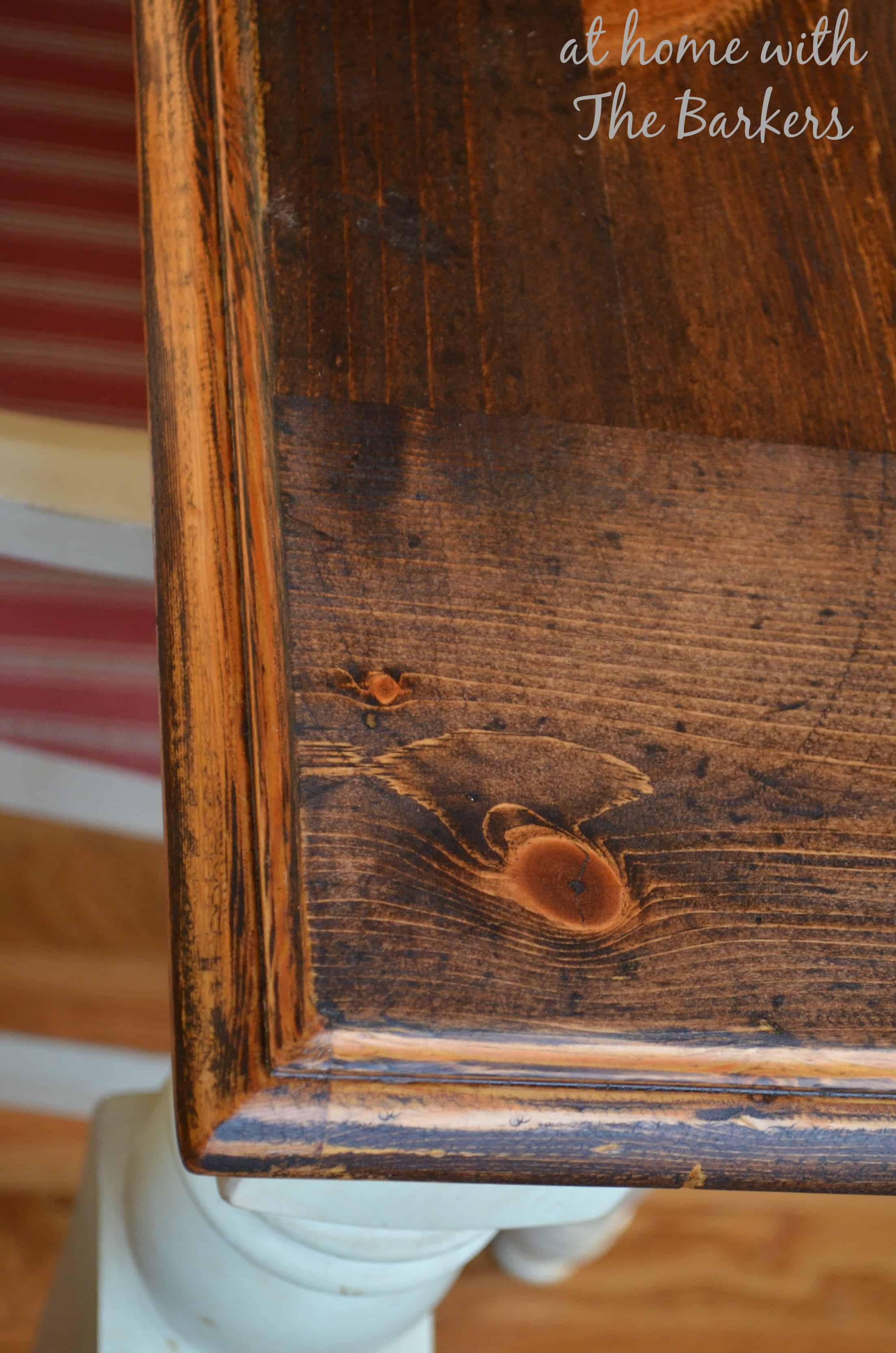 Farmhouse Table Stain details At Home with The Barkers