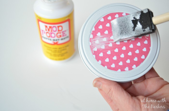 DIY Valentine Candy Jar using Mod Podge and scrapbook paper