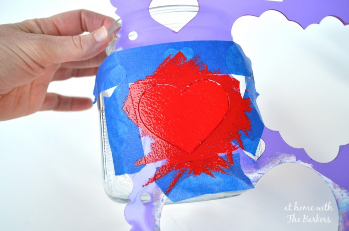 How to stencil a Valentine Candy Jar