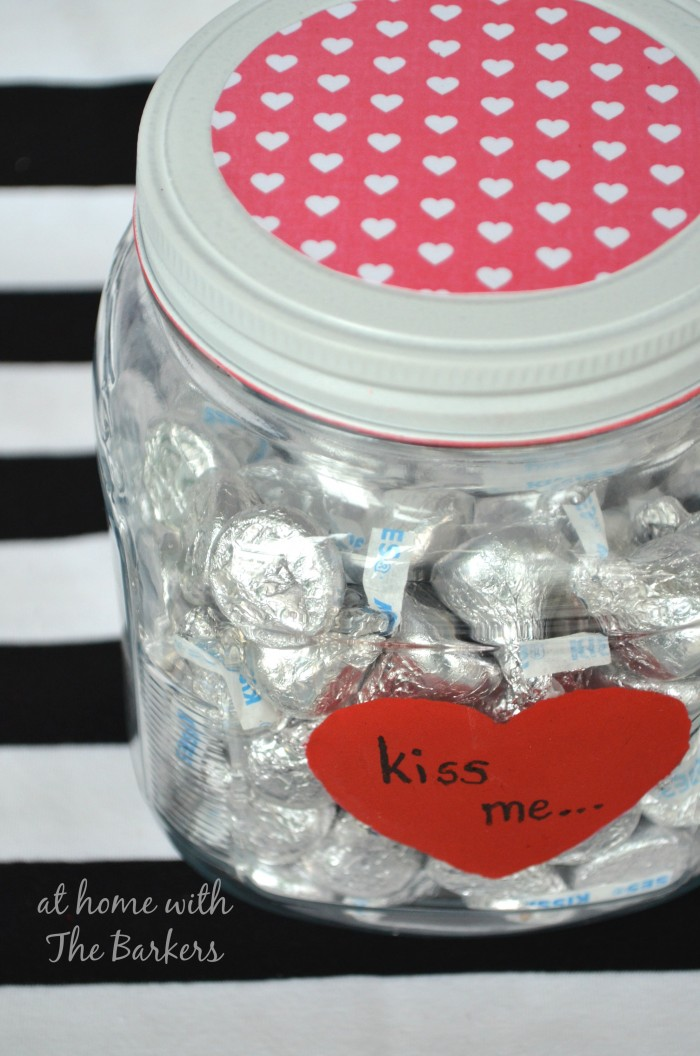 Valentine Candy Jar with Chocolate kisses