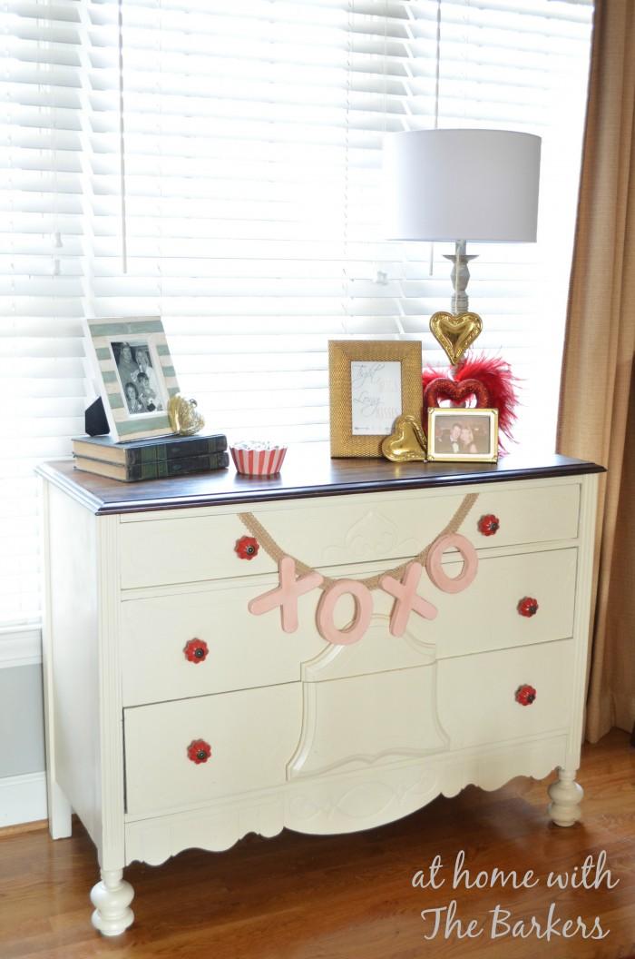 DIY Valentine Banner and Dresser Display