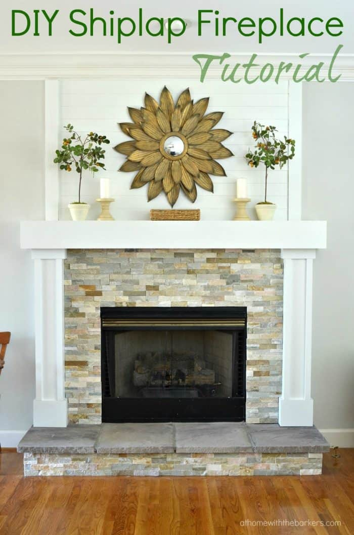 DIY Shiplap Fireplace Makeover tutorial