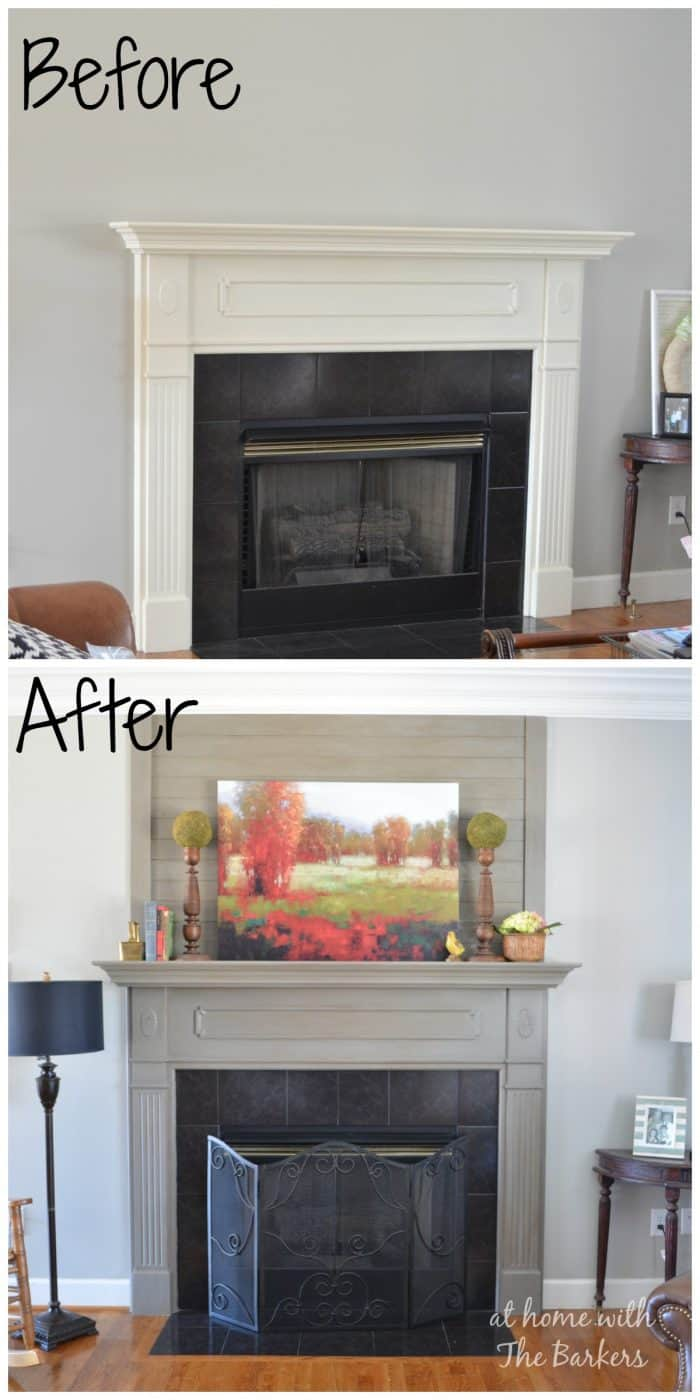 Wood-Plank-Mantel-Makeover-Before and After