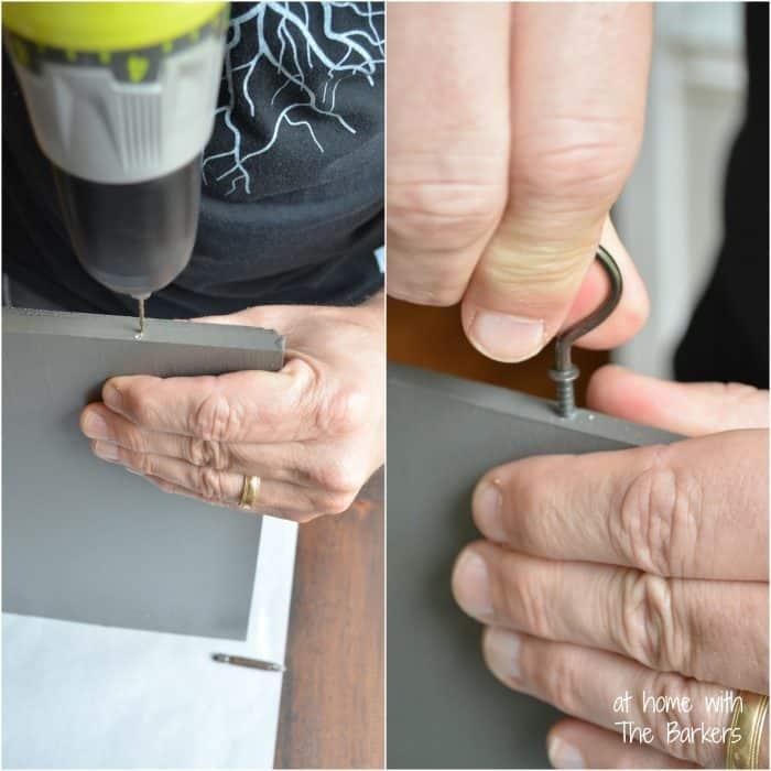 DIY Monogram Flag-drill hook holes