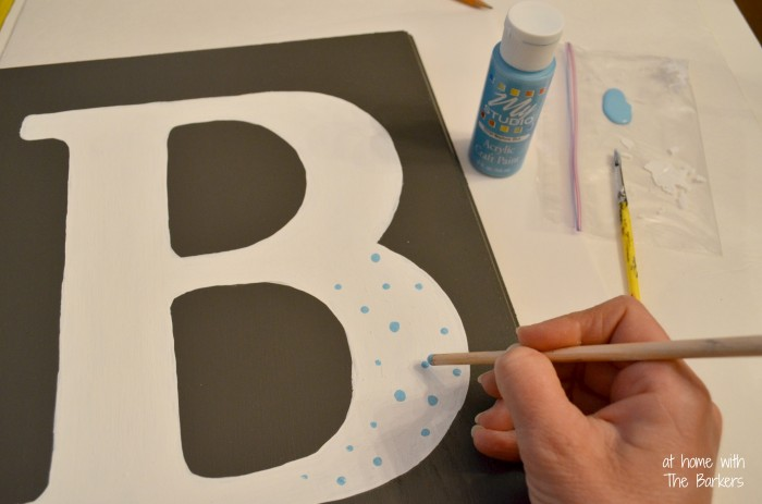 DIY Monogram Flag-painting polka dots