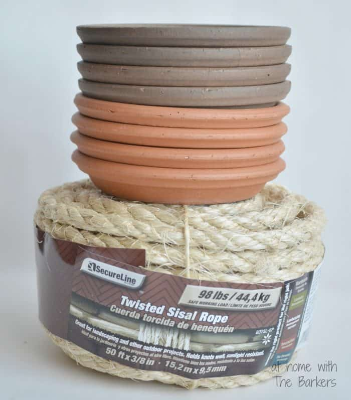 DIY Nautical Coaters-Sisal Rope and Terracotta Saucers