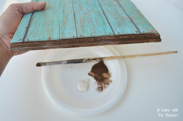 Faux Barnwood Key Holder-Acrylic Painted edge