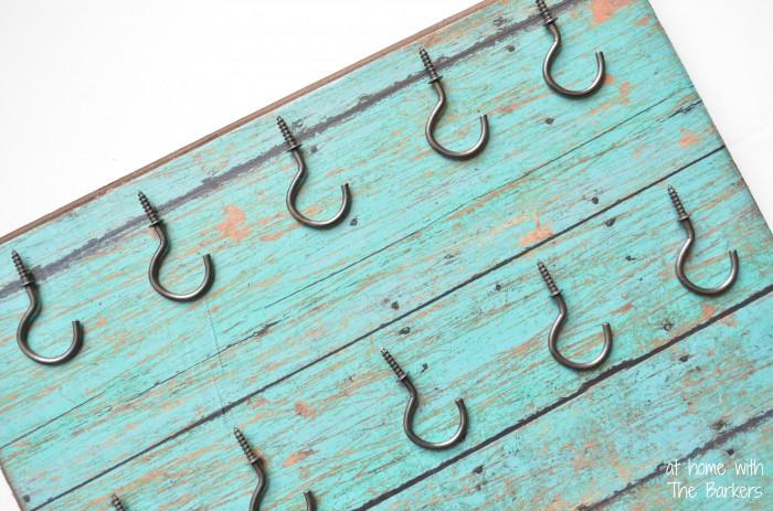 Faux Barnwood Key Holder-Metal Hooks