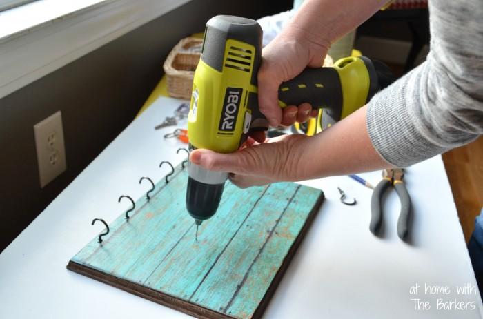 Faux Barnwood Key Holder-pre-drill holes
