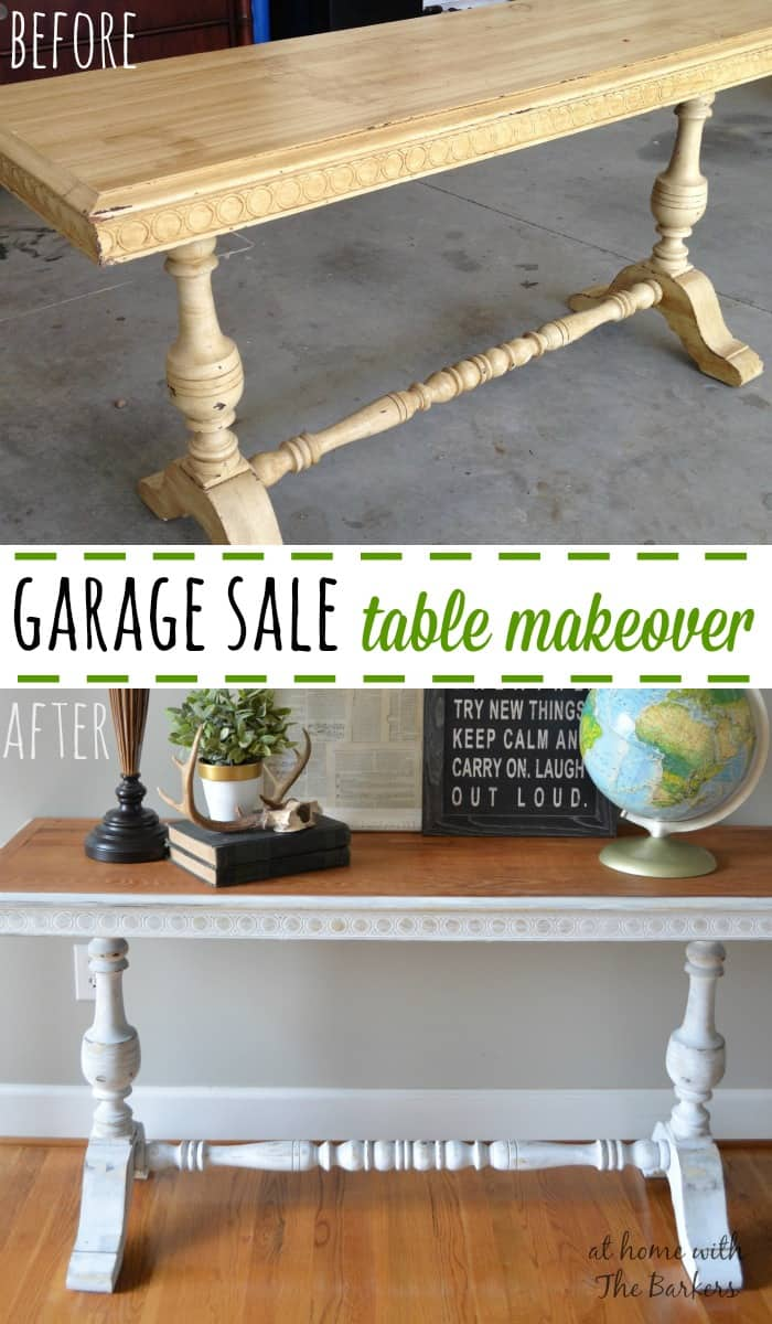 Garage Sale Table Makeover Before and After