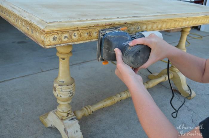 Garage Sale Table Makeover Sanding