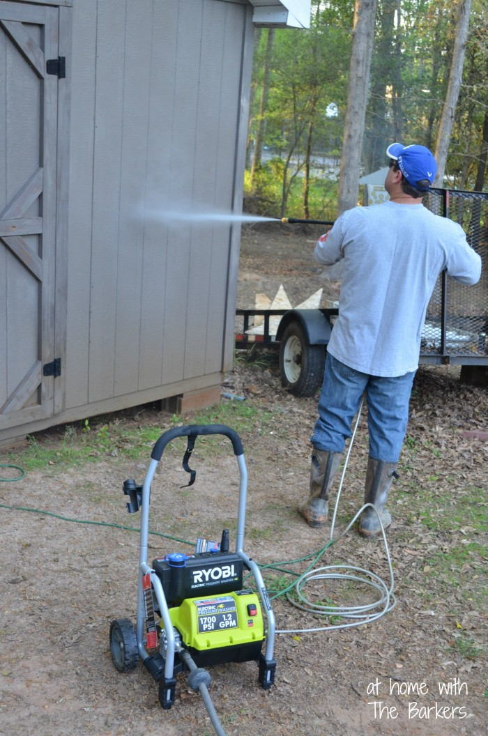 Spring Cleaning Outdoors-Pressure Washing Shed