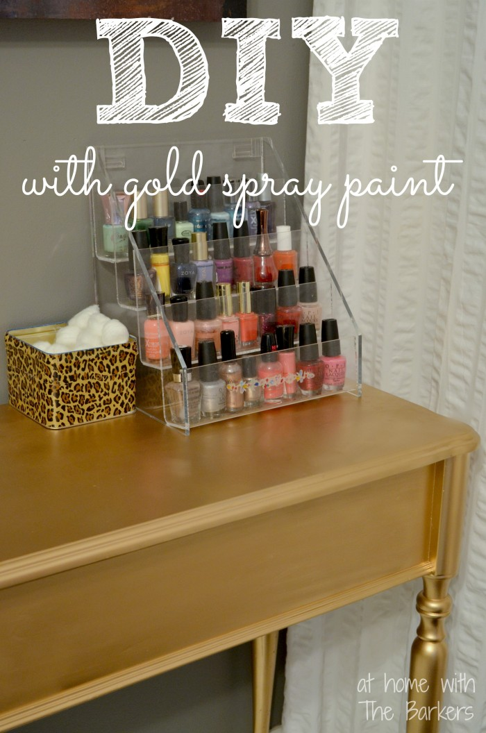 Amazing DIY Gold Painted Table Metallic Gold Spray Paint