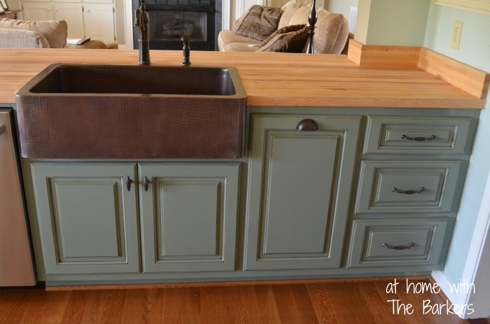 Glazed Kitchen Cabinets-Copper Sink