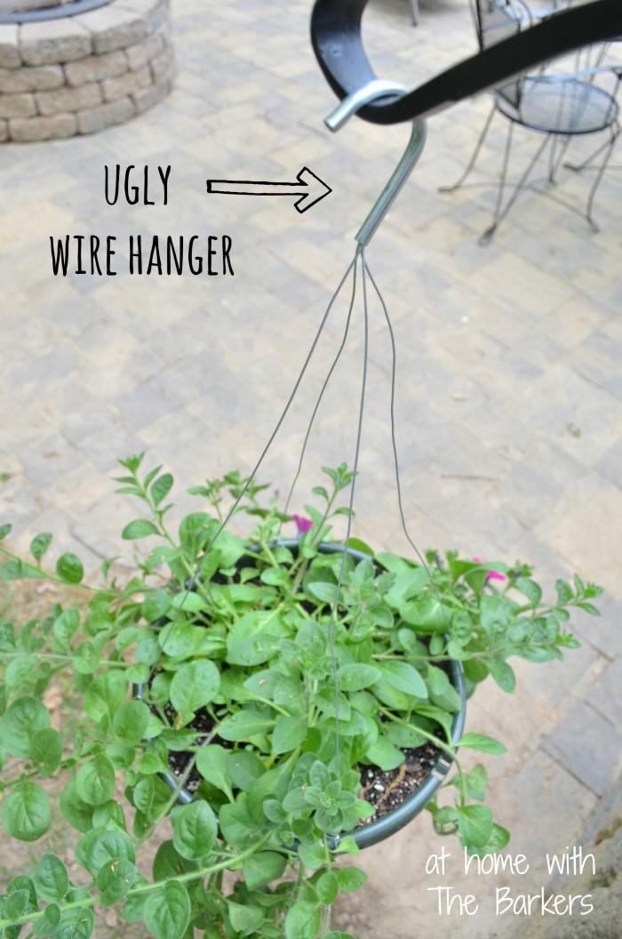 Hanging Basket Makeover-Before Wire Hanger