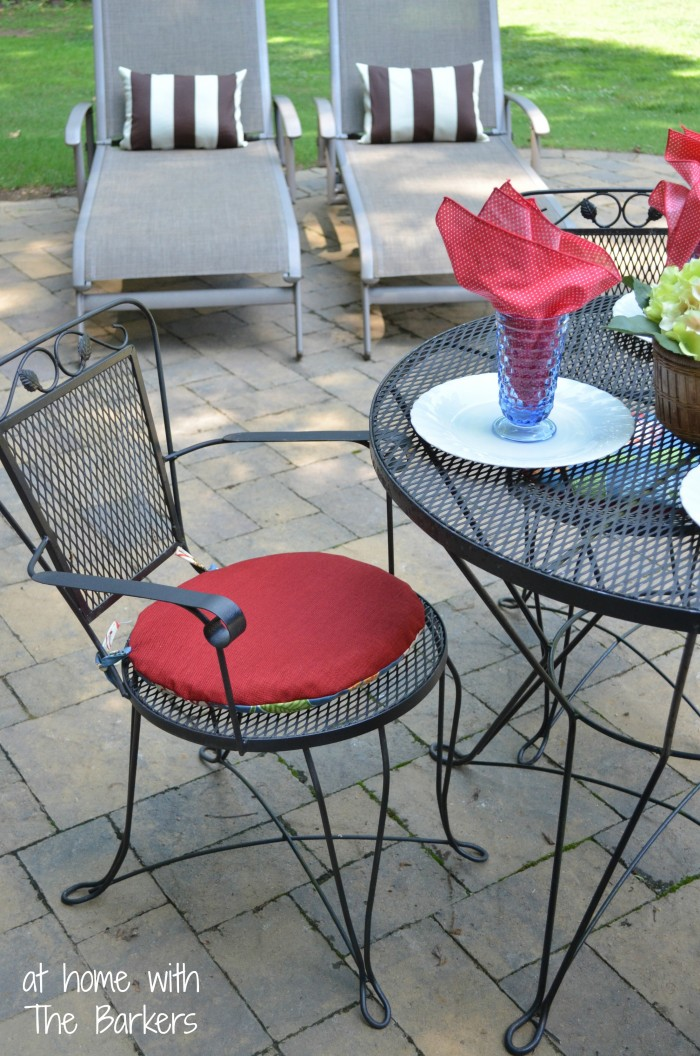 Reversible Patio Cushions and Pillows-Chaise Lounge and Bistro Table